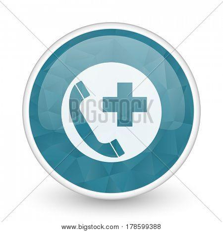 Emergency call brillant crystal design round blue web icon.