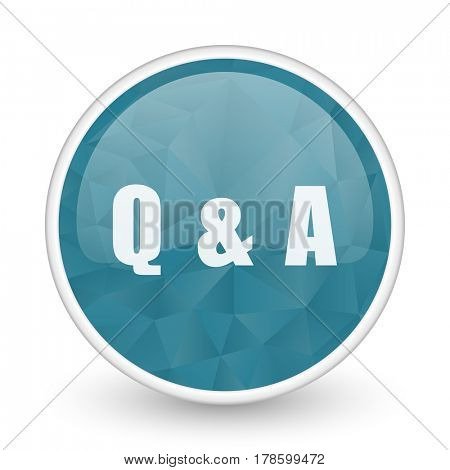 Question answer brillant crystal design round blue web icon.