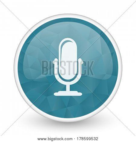 Microphone brillant crystal design round blue web icon.