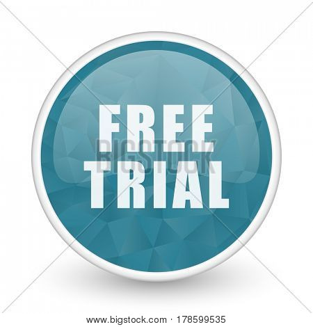 Free trial brillant crystal design round blue web icon.