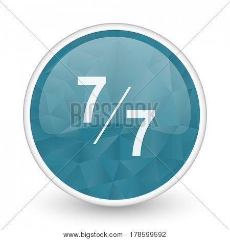 7 per 7 brillant crystal design round blue web icon.