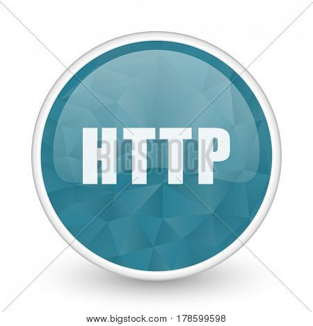 Http brillant crystal design round blue web icon.