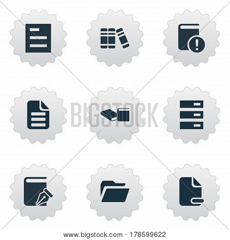 Vector Illustration Set Of Simple Books Icons. Elements Stack, Folder, Letter And Other Synonyms Folder, Page And Library.