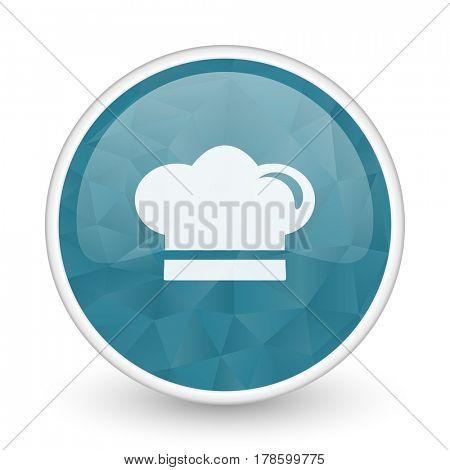 Cook brillant crystal design round blue web icon.