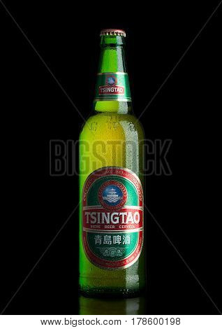 LONDONUK - MARCH 23 2017 : Bottle of Tsingtao beer on black background.Tsingtao is China's second largest brewery it was founded in 1903 by German settlers.