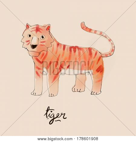 Tiger Watercolor illustration