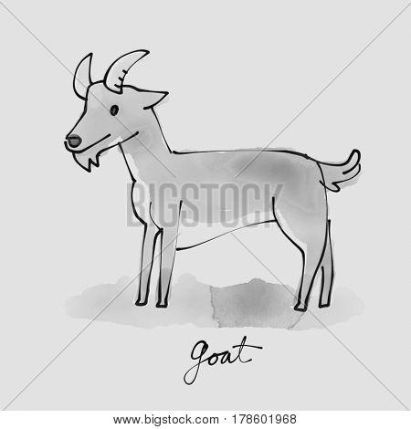 Goat Watercolor illustration