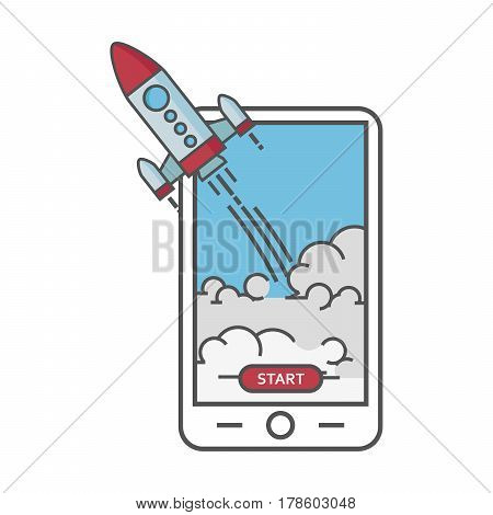 Business start up concept. Flat illustration of smartphone with Rocket launcing