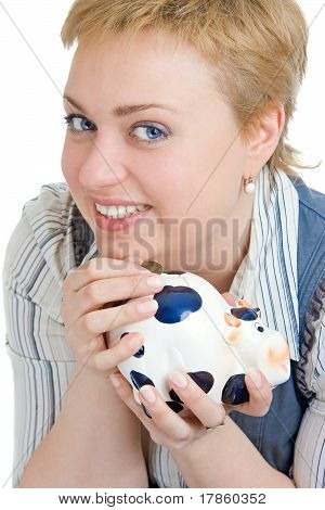 Smiling Girl With Piggy-bank
