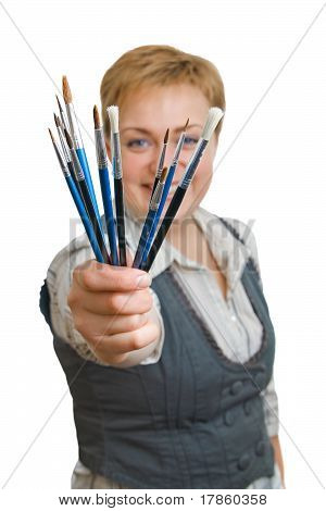 Smiling Girl With A Paintbrush, Isolated Over White