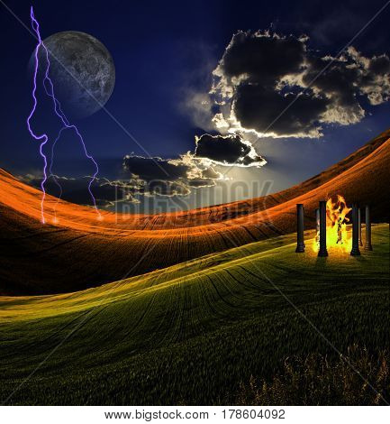 Landscape with Lighting Strike  3D Rendering  Some elements provided courtesy of NASA