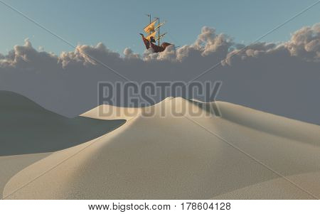 Ship in clouds above desert   3D Rendering