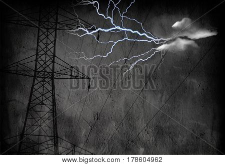 High Tension Power Lines with Electric    3D Rendering