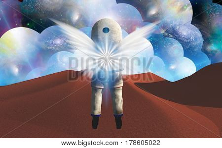 Angel Winged Cosmonaut   Elements of this image furnished by NASA   3D Rendering
