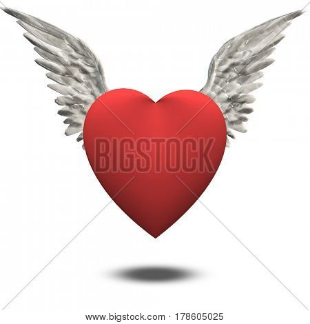 Heart with wings   3D Rendering