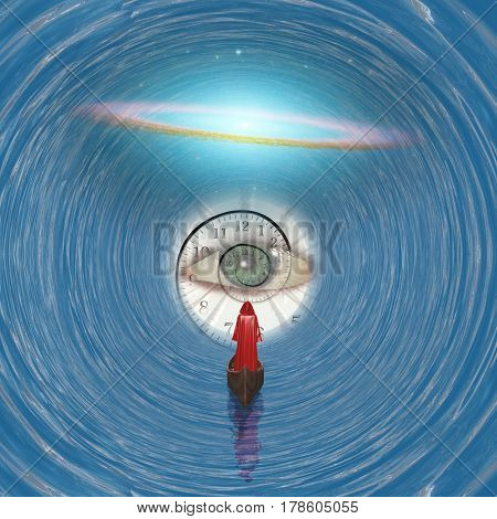 Figure in red robe floating to God's eye in blue tunnel   Elements of this image furnished by NASA   3D Rendering