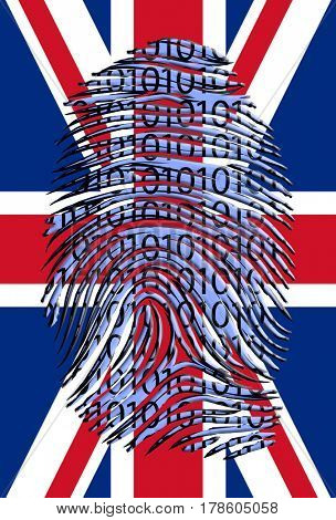 UK Flag with Binary Fingerprint   3D Rendering