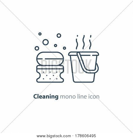 Cleaning services set, soap bubbles with sponge and hot water bucket, household and housekeeping hygiene items, equipment and supplies, mono line vector icon collection
