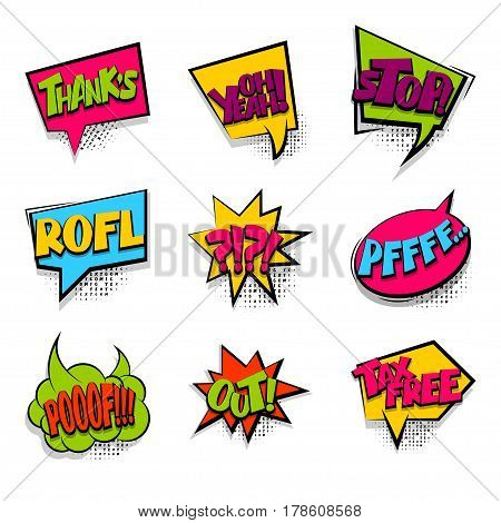 cartoon exclusive font burst sounds dot background. Comics book balloon Thanks tax free set colored comic text sound effects halftone pop art style. Vector bubble icon speech phrase