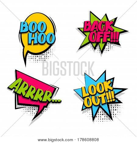 Back off set colored comic text sound effects halftone pop art style. Vector bubble icon speech phrase cartoon exclusive font burst sounds dot background. Comics book balloon