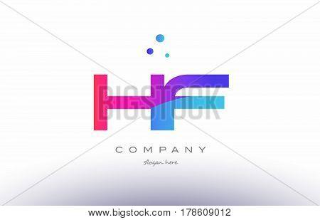 Hf H F  Creative Pink Blue Modern Alphabet Letter Logo Icon Template