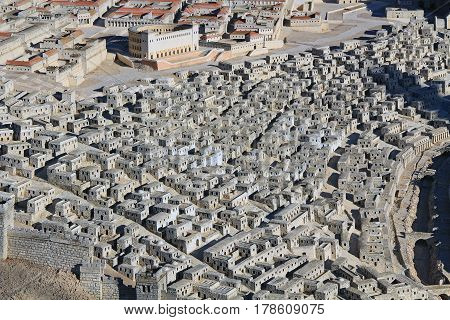 Model of ancient Jerusalem at the time of the second temple.  Focusing on the homes in the Upper City and the Herodian Theater.