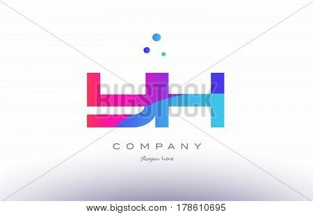 Yh Y H  Creative Pink Blue Modern Alphabet Letter Logo Icon Template