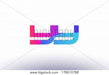 Yn Y N  Creative Pink Blue Modern Alphabet Letter Logo Icon Template