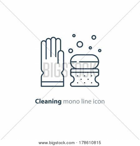 Cleaning services set, rubber glove, soap bubbles with sponge, household and housekeeping hygiene items, equipment and supplies, mono line vector icon collection