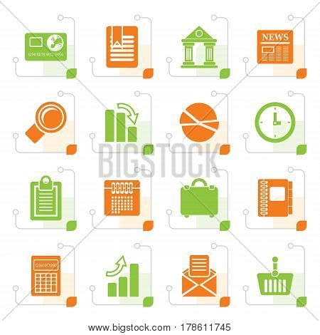 Stylized Business and Office Realistic Internet Icons - Vector Icon Set 3