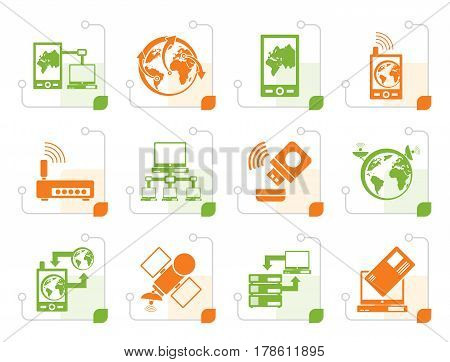 Stylized communication, computer and mobile phone icons - vector icon set