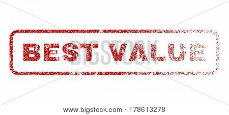 Best Value text rubber seal stamp for watermarks. Textured message. Vector red caption inside rounded rectangular banner. Grunge design and dust texture.