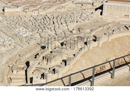 Model of ancient Jerusalem at the time of the second temple.  Including the pool of Siloam, Synagogue of the Freedmen, Adiabenian Royal Palaces in the Lower City and homes and Herodian Theater in the Upper City.