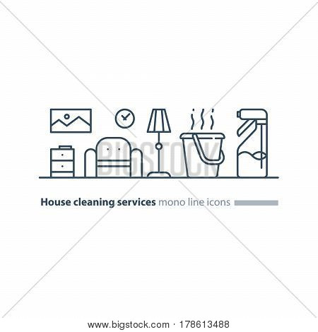 Home cleaning services, tidy living room with armchair and floor lamp, apartment chores, maintain clean interior, household and housekeeping, hot water bucket with spray bottle vector mono line icon set
