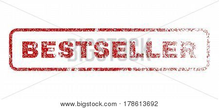 Bestseller text rubber seal stamp for watermarks. Textured sticker. Vector red tag inside rounded rectangular shape. Grunge design and dirty texture.