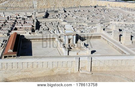 Model of ancient Jerusalem at the time of the second temple.  Including the Temple on the Temple Mount, The Royal Basilica, Eastern Gate on the Kidron Valley with the city of Jerusalem behind it.