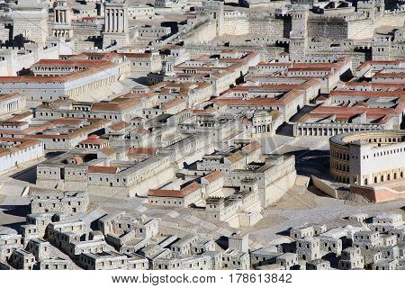 Model of ancient Jerusalem at the time of the second temple.  Including the Herodian Theater, Palace of High Priest Ananias and Royal Palace of the Hasmoneans.