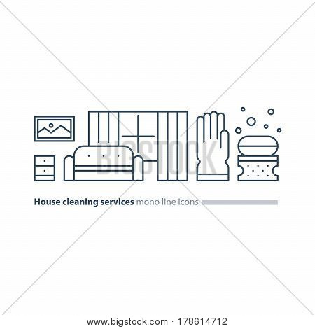 Home cleaning services, tidy living room with sofa and window, apartment chores, maintain clean interior, household and housekeeping, robber glove with sponge and soap vector mono line icon set