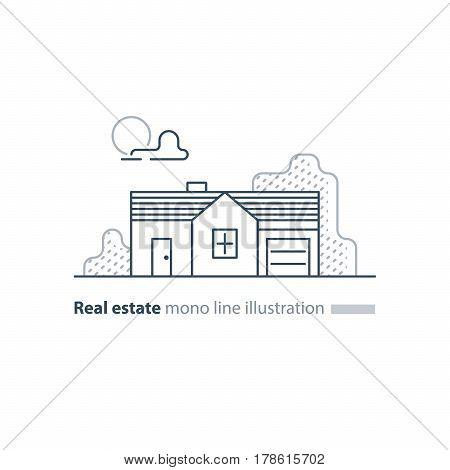 Small detached long house with garage, horizontal, suburb summer house icon, real estate vector mono line illustration