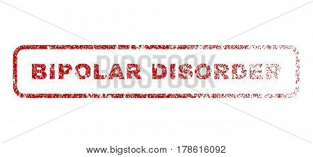 Bipolar Disorder text rubber seal stamp for watermarks. Textured sticker. Vector red caption inside rounded rectangular shape. Grunge design and unclean texture.