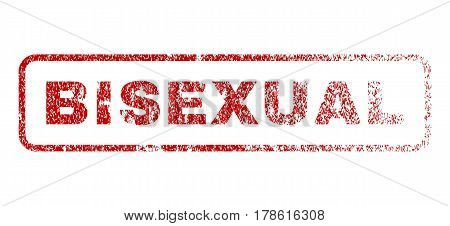Bisexual text rubber seal stamp for watermarks. Textured sign. Vector red tag inside rounded rectangular banner. Grunge design and dust texture.