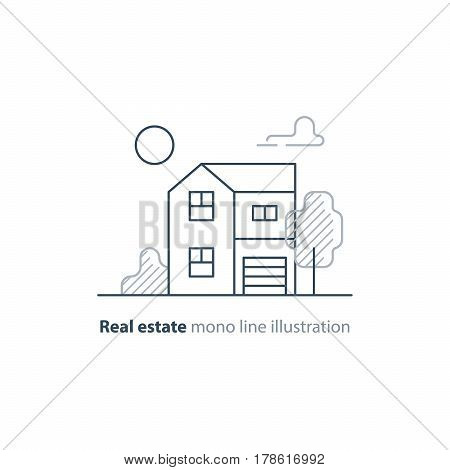 Detached house with garage and tree, suburb house icon, real estate, realty vector mono line illustration