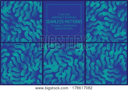 Set of 5 Vector Abstract Blue and Turquoise Stippled Seamless Patterns. Handmade Tileable Geometric Dotted Grunge Background