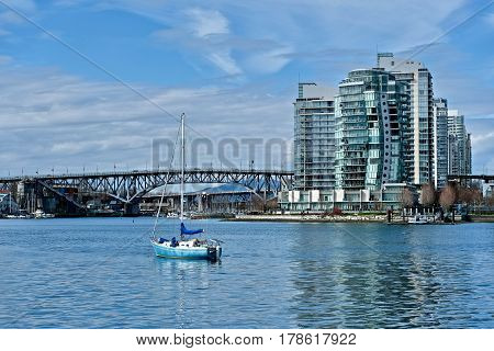 Granville bridge over Falls Creek in downtown Vancouver. British Columbia. Canada.