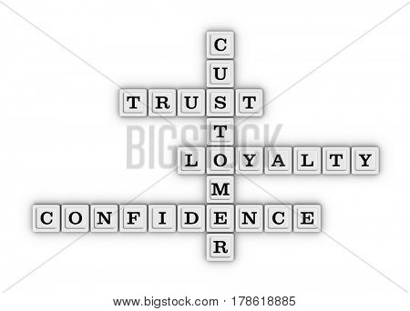 Trust, Loyalty, Confidence and Customer Crossword Puzzle. 3D illustration on white background.