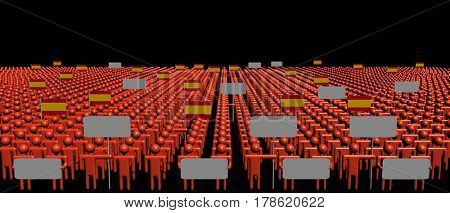 Crowd of people with signs and Spanish flags 3d illustration