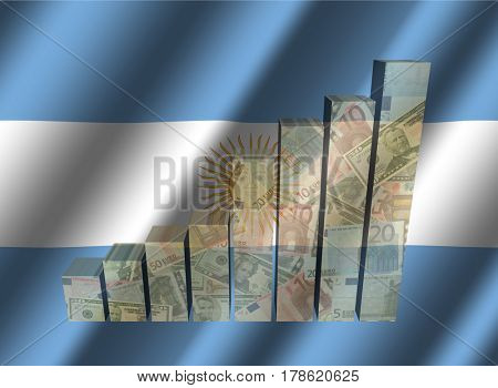 Currency graph on rippled Argentina flag 3d illustration