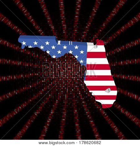 Florida map flag on red hex code burst 3d illustration