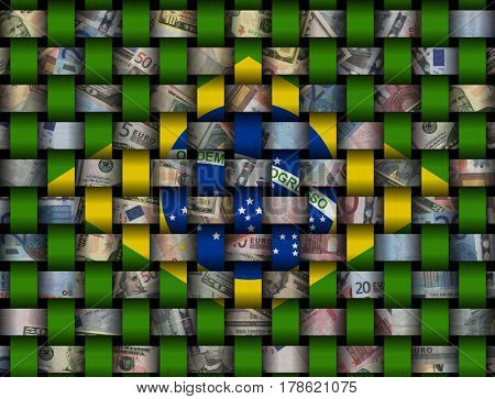 Interwoven Brazilian flag and currency 3d illustration