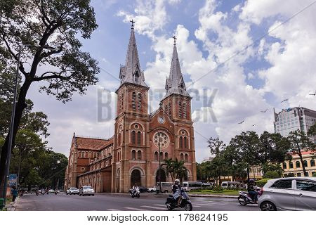 Ho Chi Minh City / Vietnam - March 27 2017: Notre Dame Cathedral in Ho Chi Minh city Vietnam. The church is established by French colonists build in 1883. Vietnamese: Nha Tho Duc Ba.